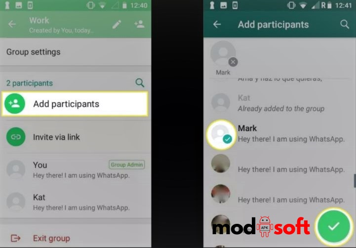 WhatsApp Group Chat on Android